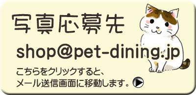 ペット写真応募先 shop@pet-dining.jp